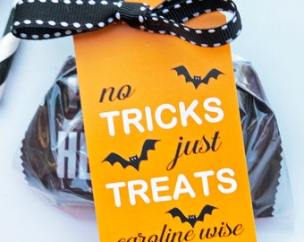 Printable Personalized Halloween Hang Tags - ONE or ALL Designs - Treats no tricks