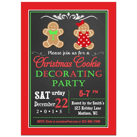 Christmas Cookie Invitation Printable ANY Wording Cookie