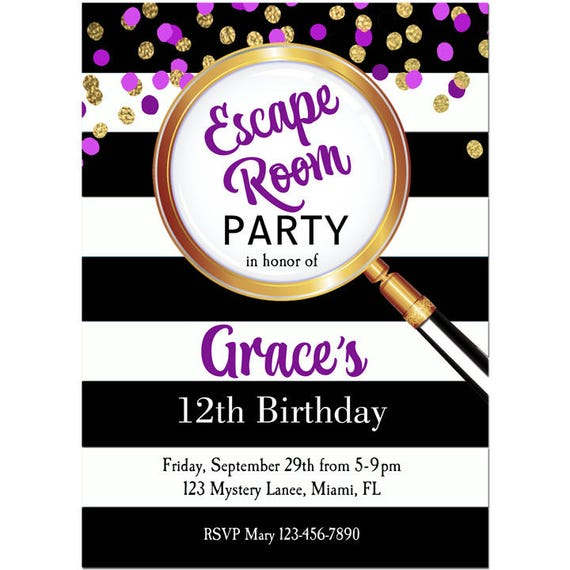 Girls Escape Room Party Invitation Printable Or Printed With FREE SHIPPING