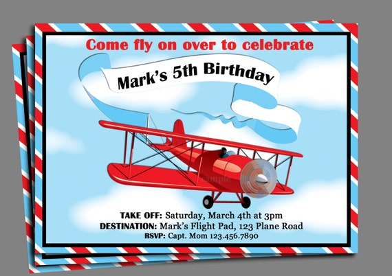 Vintage Airplane Birthday Invitation Printable Or Printed With FREE SHIPPING