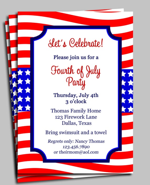 Fourth of July Invitation Printable - Celebration, Birthday, Party, Barbeque - Red, White and Blue
