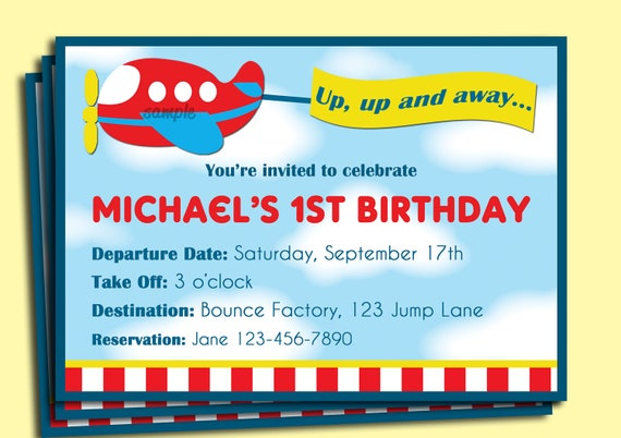 Airplane Birthday Invitation Printable Or Printed With FREE SHIPPING