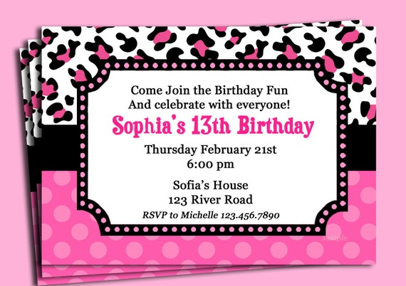 pink cheetah print polka dot invitation printable or printed etsy