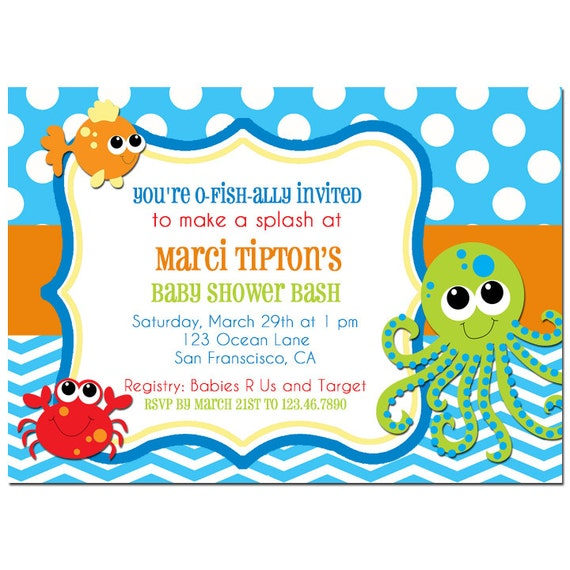 Under The Sea Baby Shower Invitation Printable Or Printed