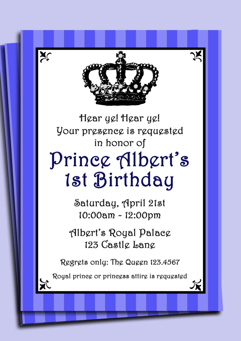 Lil/' Prince Birthday or Baby Shower Invite Prince Invitation Printable or Printed with FREE SHIPPING