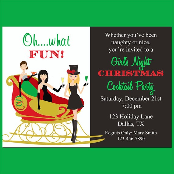 Christmas Cocktail Party Invitations.Christmas Cocktail Party Invitation Printable Girl S Night