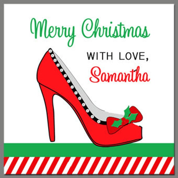 photo about Free Printable Customizable Gift Tags known as Custom made Higher Heel Xmas Present Tags Printable or