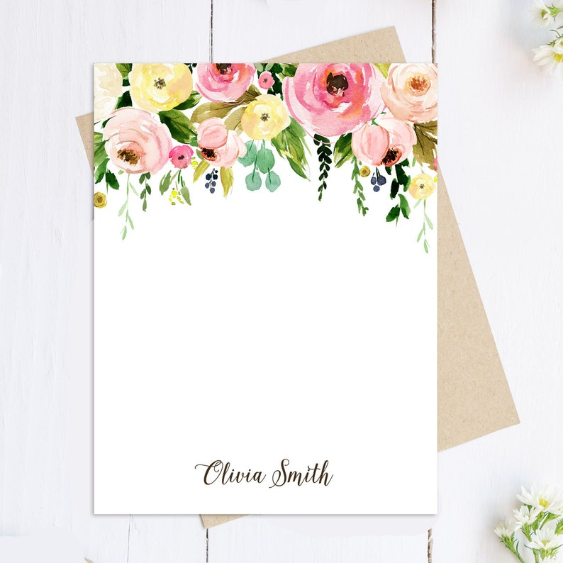 Stationery Note Card Set Flowers -Floral Bouquet Collection Flat Floral Personalized Card Personalized Stationary Set