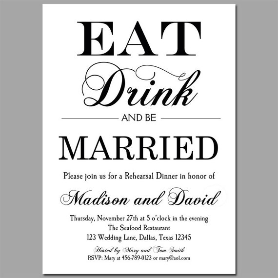 Eat Drink And Be Married Invitation Printable Or Printed With Etsy