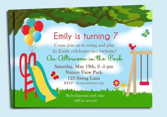 Park Playground Birthday Invitation Printable Or Printed With FREE