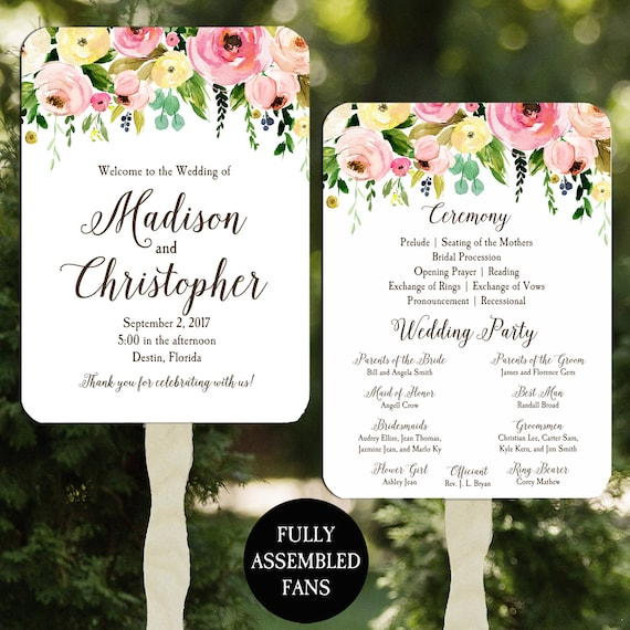 Wedding Program Fans Printable or Printed Assembled with FREE Shipping - Romantic Floral Spray Collection