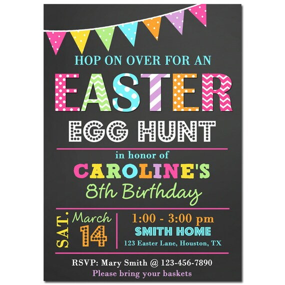 Easter Birthday Invitation Printable Or Printed With FREE SHIPPING