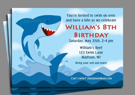Shark Invitation Printable Or Printed With FREE SHIPPING Boys Pool