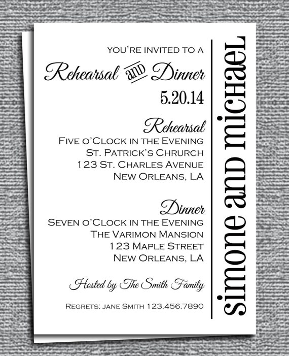 Rehearsal Dinner Invitation Printable Or Printed With Free Shipping
