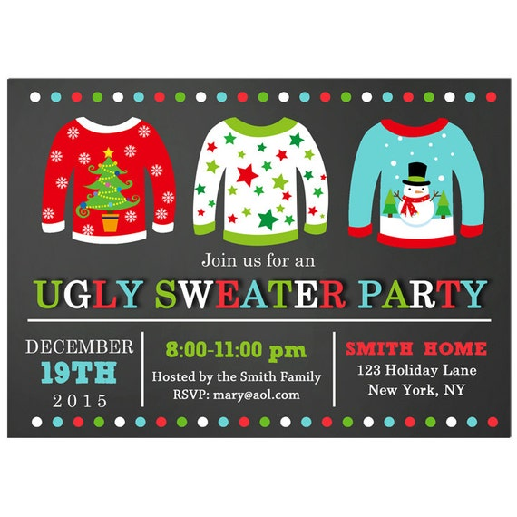Ugly Sweater Party Invitation Printable Chalkboard Christmas