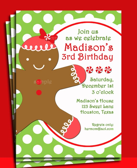 Christmas Gingerbread Girl Invitation Printable Christmas Etsy