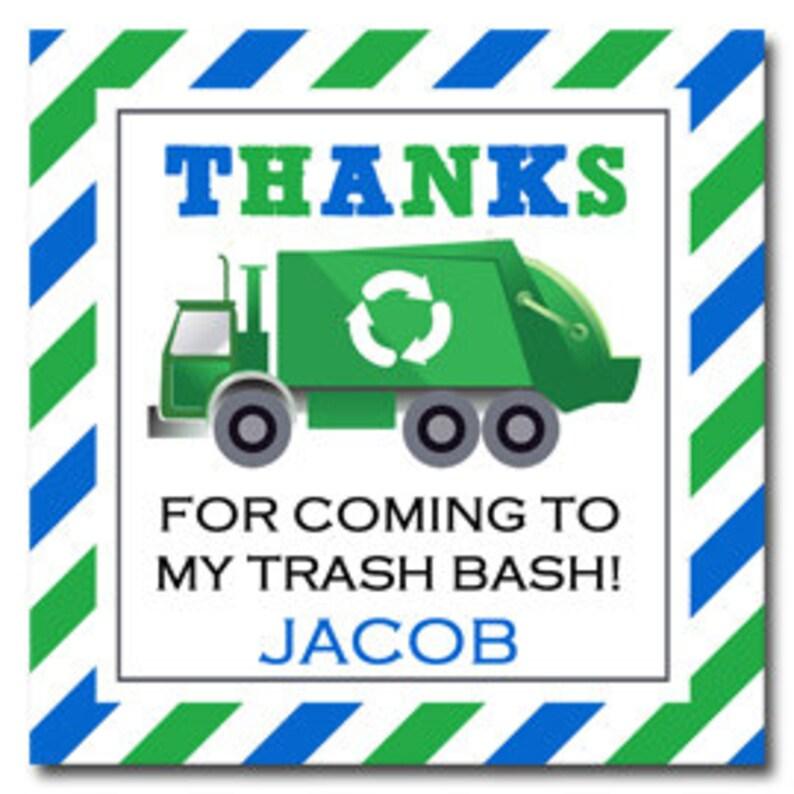 Trash Bash Collection PRINTED or PRINTABLE ANY Wording Personalized Trash bash Favor Tags