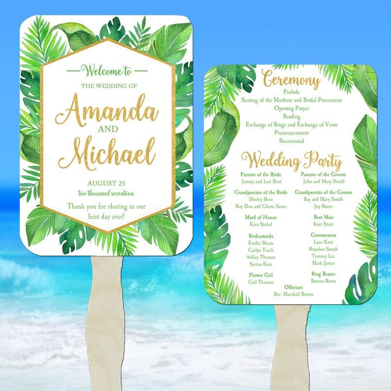 Wedding Program Fans Assembled - Beach Wedding Program Fans - FREE Shipping  - Destination Wedding Program Fans - Palms Collection