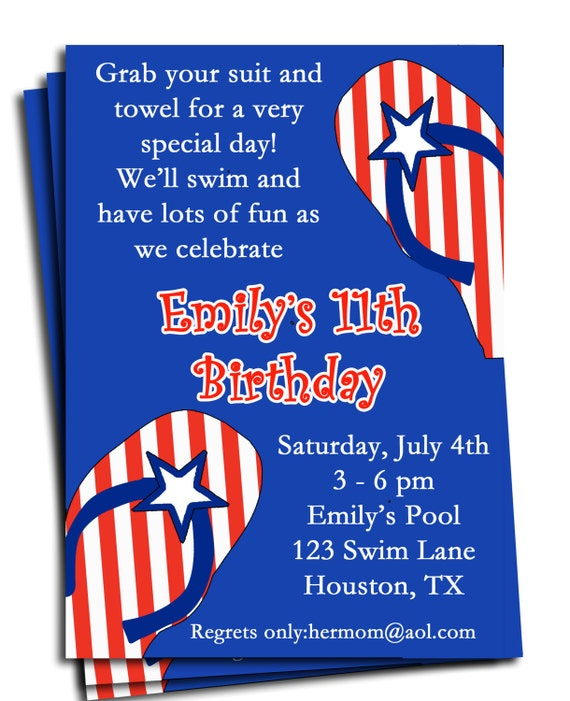 Fourth Of July Pool Party Invitation Printable Or Printed With FREE SHIPPING