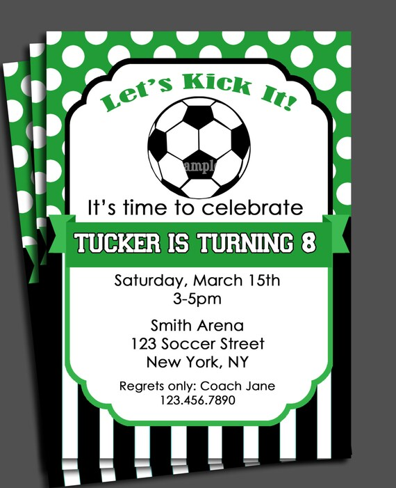 Soccer Invitation Printable Or Printed With Free Shipping You Pick Colors Birthday Baby Shower Etc