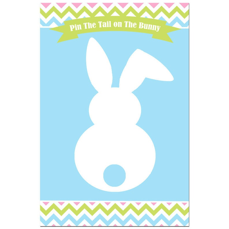 photo relating to Pin the Tail on the Bunny Printable titled Pin the Tail upon the Bunny Video game Printable - Immediate Down load - Easter Chevron Range