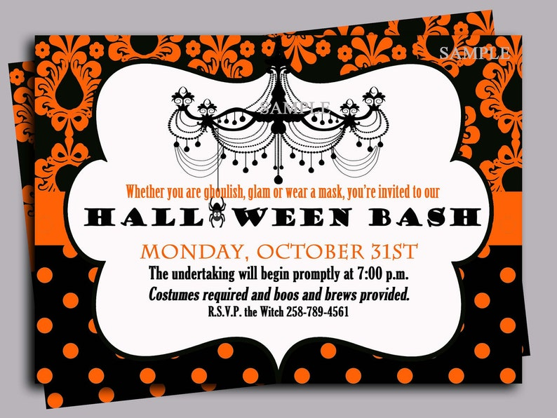 photo relating to Free Halloween Invitation Printable named Halloween Invitation Printable or Revealed with Free of charge Shipping and delivery- ANY Wording - Charming Posh Halloween Social gathering Choice