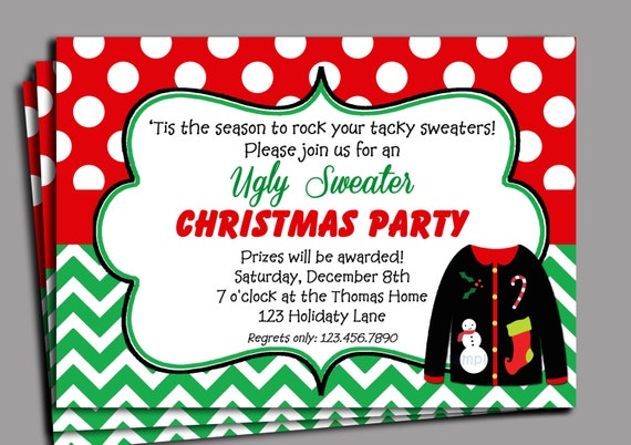 Christmas Ugly Sweater Party Invitation Printable Red Dot Green