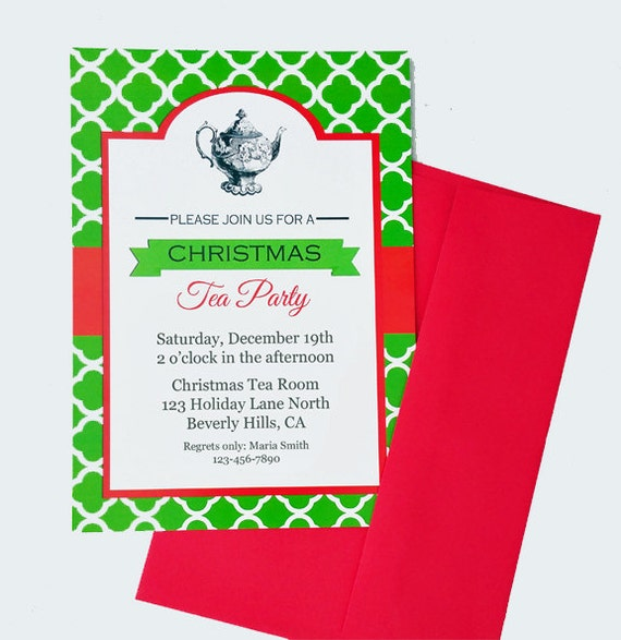 Christmas Tea Party Invitation Printable Or Printed With