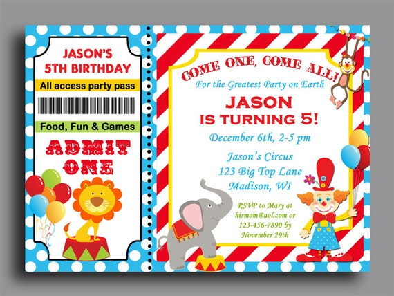 Circus Carnival Ticket Birthday Invitation Printable Or Printed With FREE SHIPPING