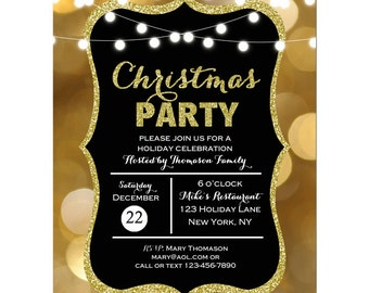 Christmas Invitation Printable - ANY Wording - Gold Sparkle Lights with Glitter Collection