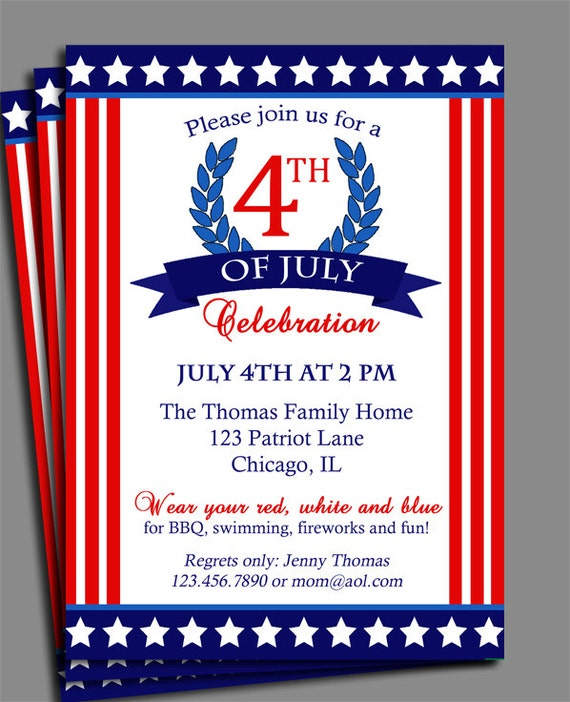 Fourth of July Invitation Printable - Celebration, Birthday, Party - Stars and Stripes