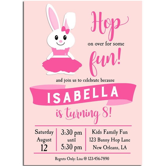 Girls Bunny Birthday Invitation Printable Or Printed With FREE SHIPPING