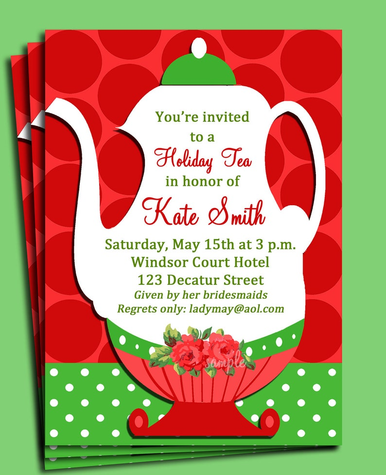Christmas Tea Party Invitation Printable Or Printed With Free Etsy