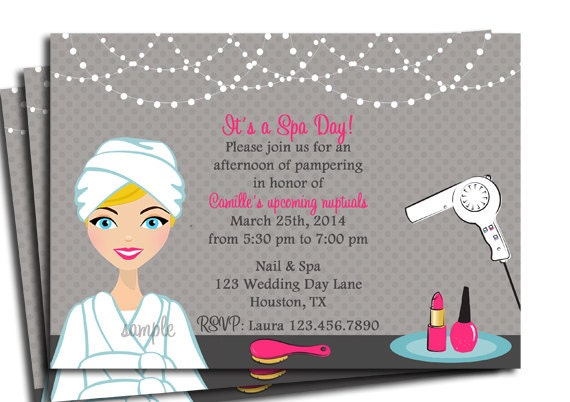 Spa Day Invitation Printable Or Printed With FREE SHIPPING You Pick