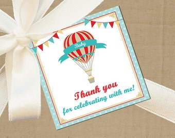 50% OFF SALE - Hot Air Balloon Tag Printable or Printed with Free Shipping - Vintage Hot Air Balloon Collection