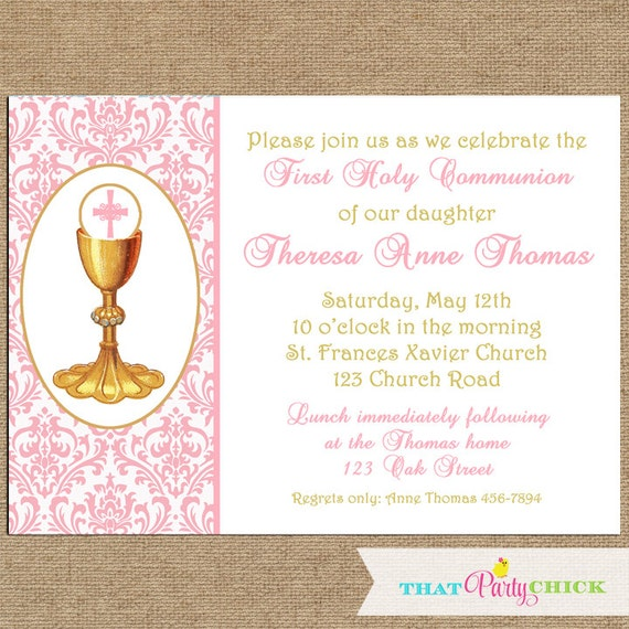 photograph regarding First Communion Invitations Free Printable identify Initial Communion Invitation Printable or Published with Cost-free