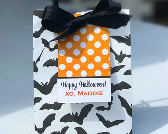 Printable Personalized Halloween Hang Tags - ONE or ALL Designs - Polka Dot Chevron Stripe