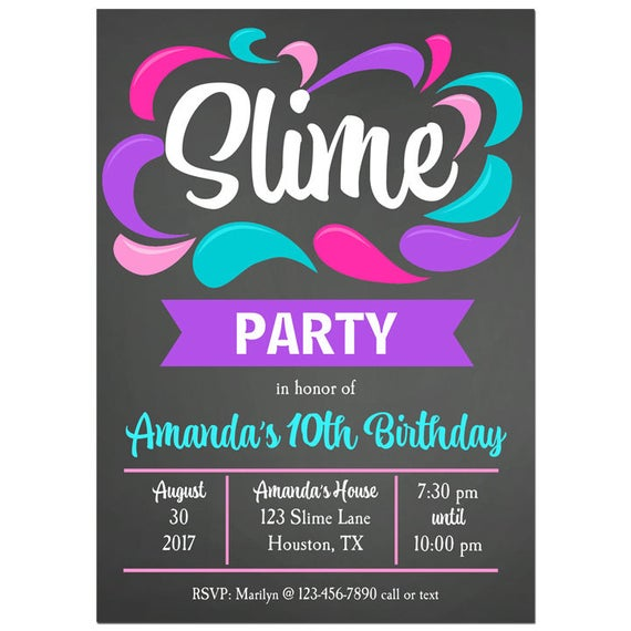 Slime Invitation Printable Or Printed With Free Shipping Girl S