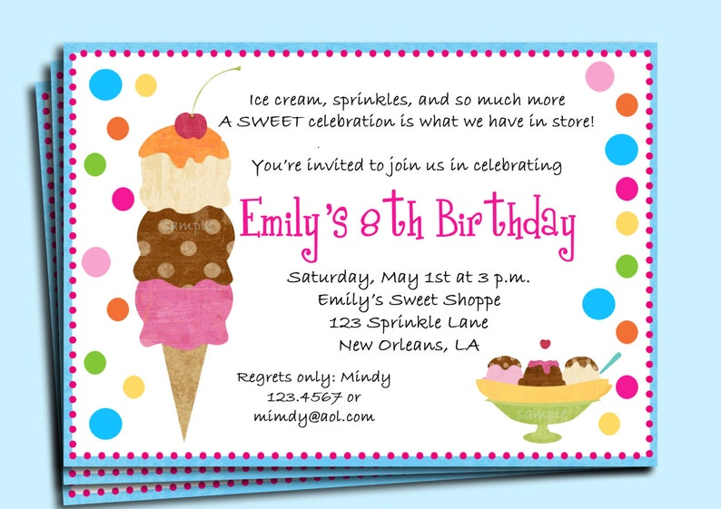Ice Cream Birthday Party Invitation Printable Or Printed With