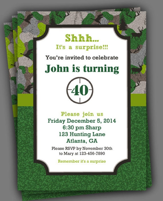 Hunting Birthday Invitation Printable Or Printed With FREE SHIPPING