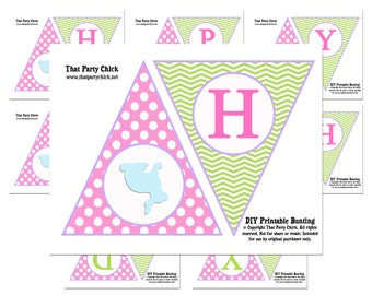 Easter Birthday Banner Printable - Instant Download - Easter Bunny Silhouette Collection