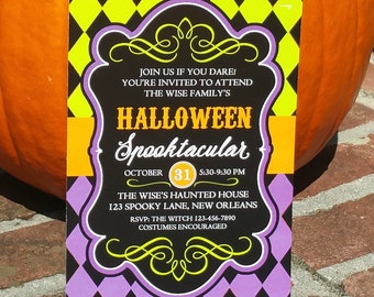 Halloween Invitation Printable or Printed with FREE SHIPPING- ANY Wording - Black Harlequin Love Collection