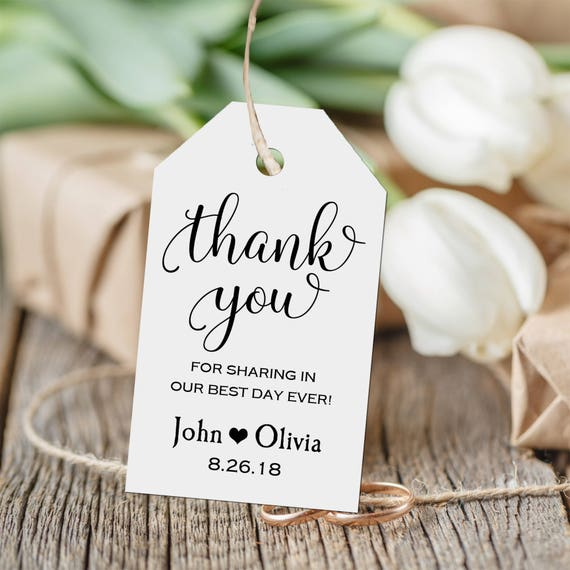 Wedding Thank You Gift Tags: Personalized Thank You Tag, Wedding Thank You Tags, Gift