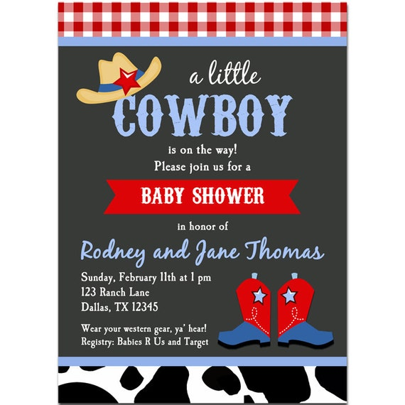 Cowboy Baby Shower Invitation Printable Or Printed With Free
