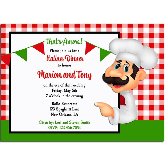 italian party invitation printable or printed with free shipping