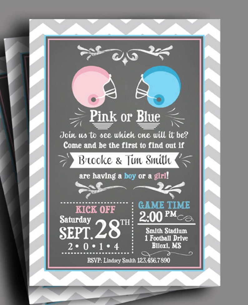 Football Gender Reveal Invitation Printable Or Printed With FREE SHIPPING