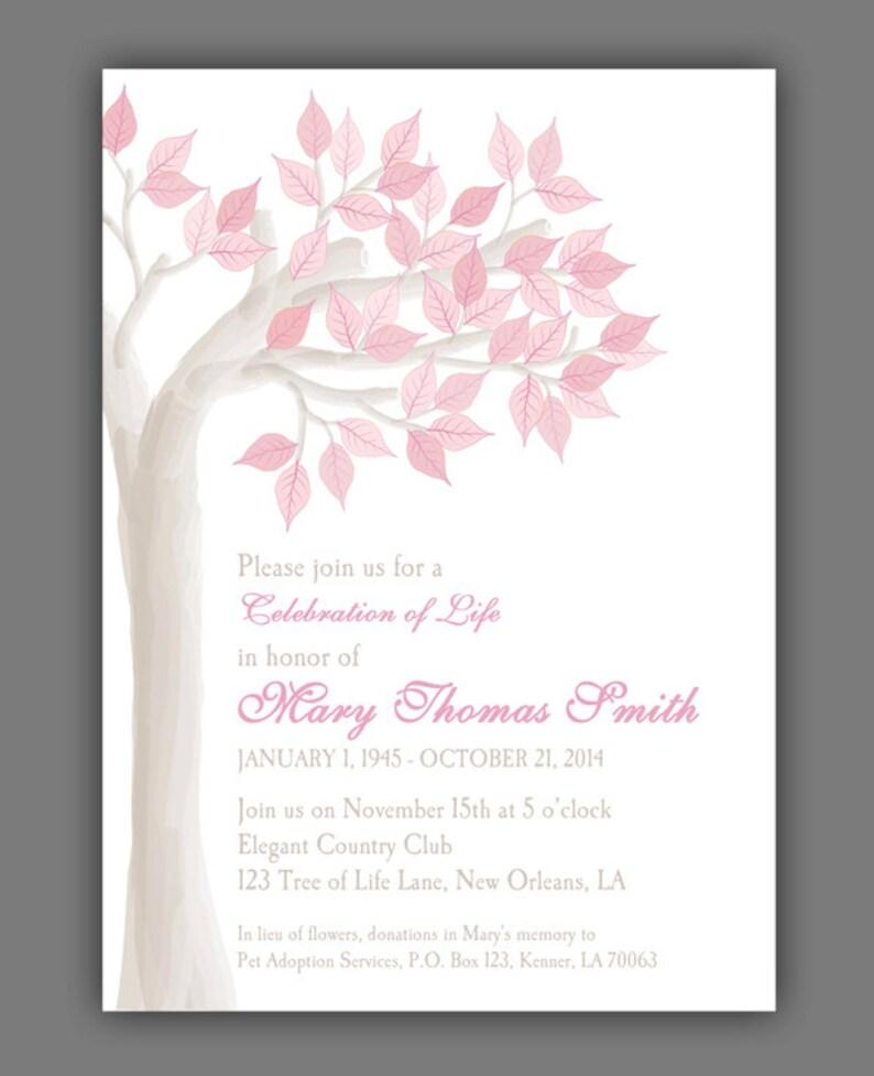 e3cf267bbe79da Elegant Tree Celebration of Life Invitation Printable or