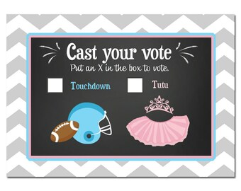 50% OFF SALE - Gender Reveal Voting Cards Printable - Touchdown or Tutus Collection
