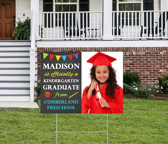 Personalized Kindergarten Graduation Yard Sign With Photo Including Stakes Class Of 2020 By That Party Chick Catch My Party