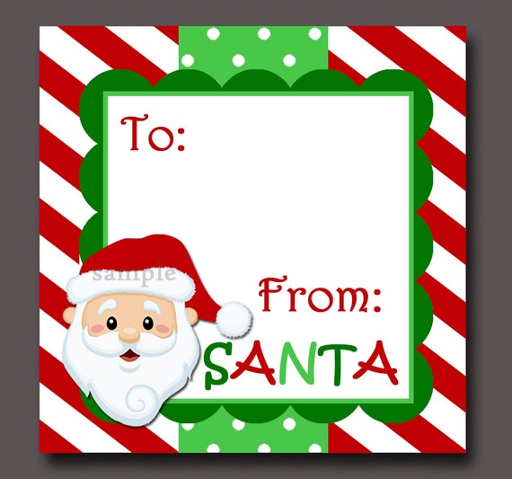 image relating to Printable Santa Gift Tags known as Santa Present Tags Printable - Prompt Obtain - Non